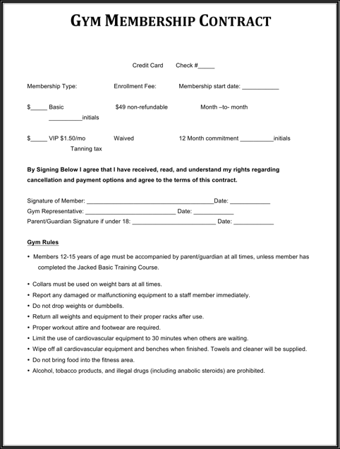 Printable Gym Contract Template Example