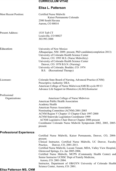 Professional Experience Hospice Resume