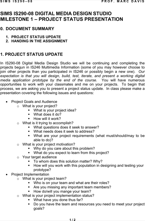 Project Status Presentation Template