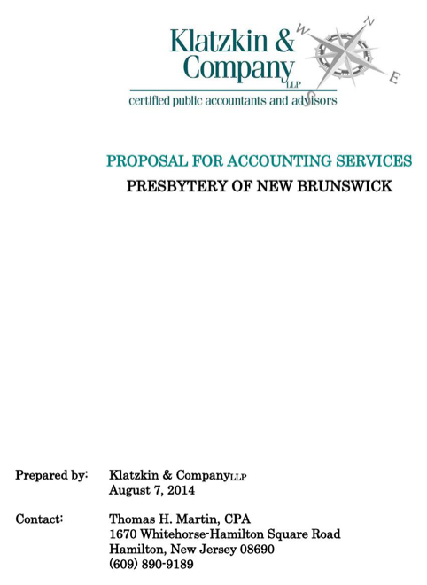 Proposal for Accounting Services (Presbytery of New Brunswick)