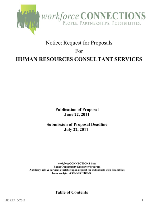 Proposal for Human Resource Consultant Services