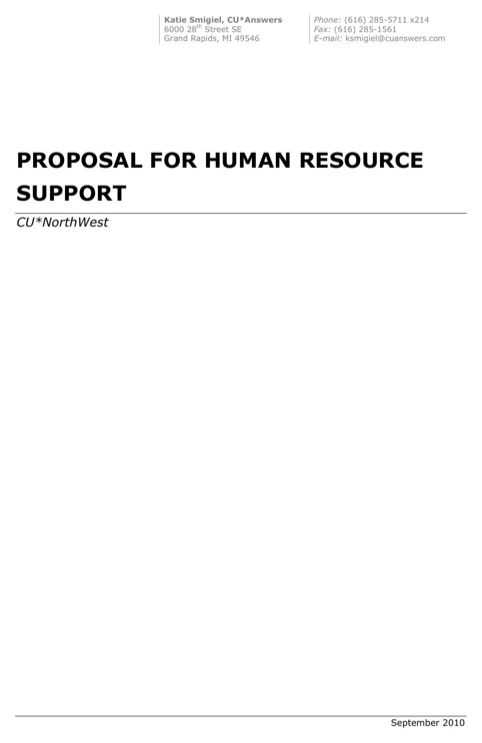 Proposal for Human Resource Support