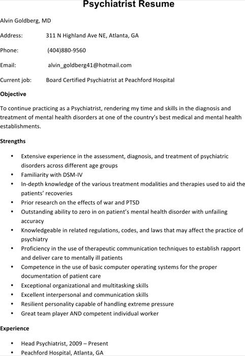 Psychiatrist Resume Template1