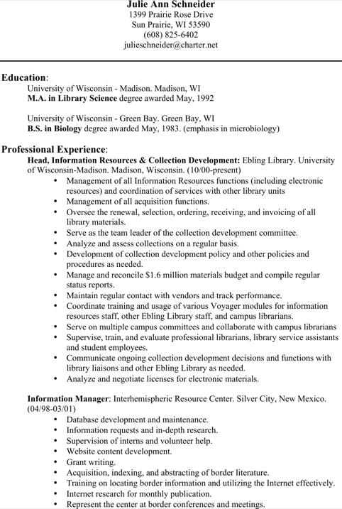 Public Librarian Resume