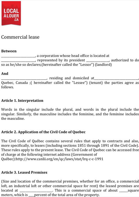 Quebec Commercial Lease Agreement Form