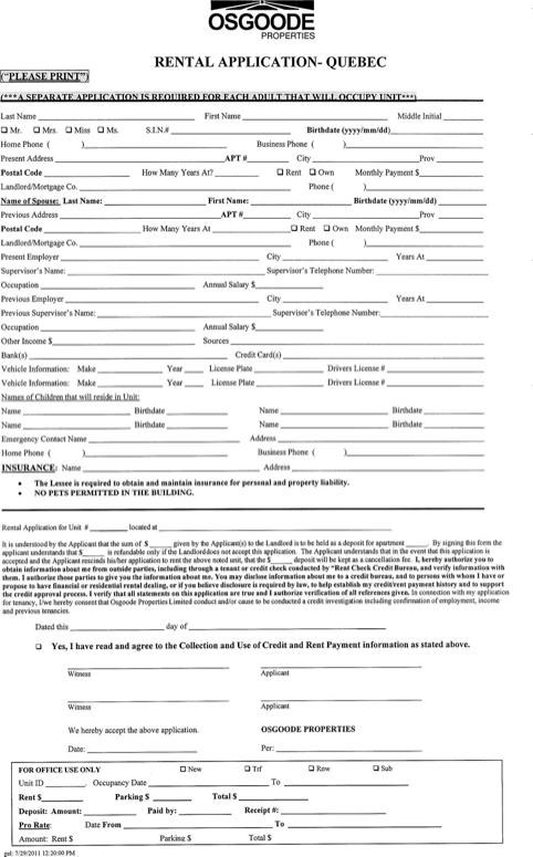 Quebec Rental Application Form