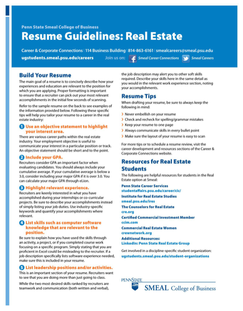 Real Estate Resume Guidelines