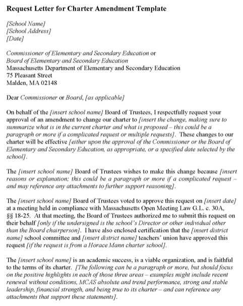 Request Letter for Charter Amendment Template