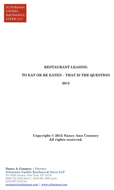 Restaurant Leasing to Eat or Be Eaten - That is the Question