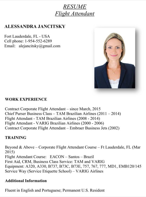 Resume Flight Attendant