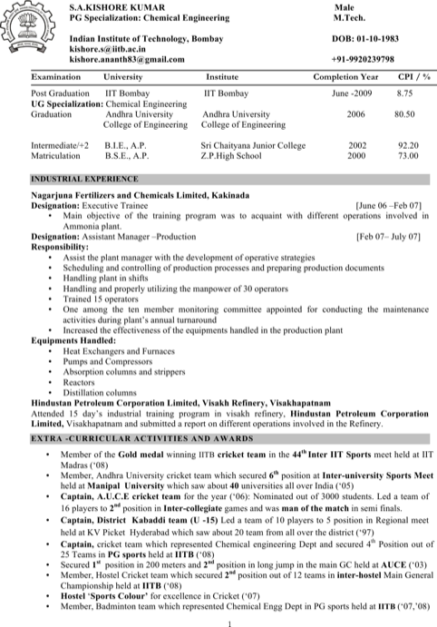 Resume For Chemical Engineer