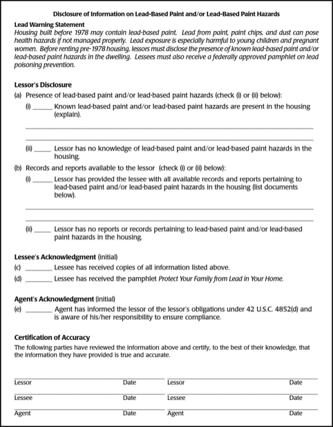 Rhode Island Lead Paint Disclosure Form