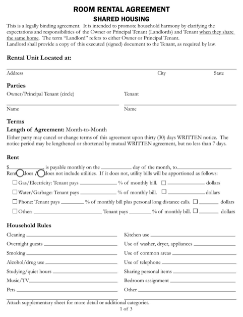 Room Rental Agreement - Shared Housing