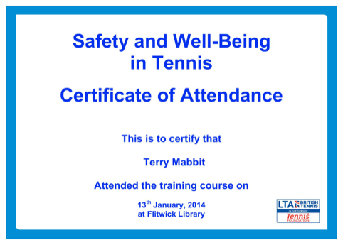 Safety and Well-Being in Tennis Certificate of Attendance