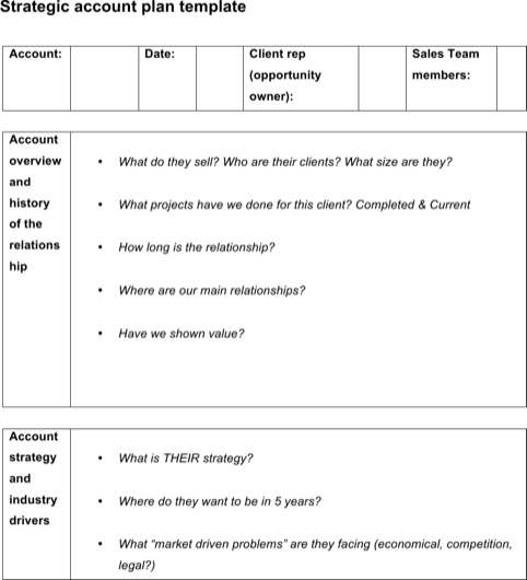 Sample Account Plan Template