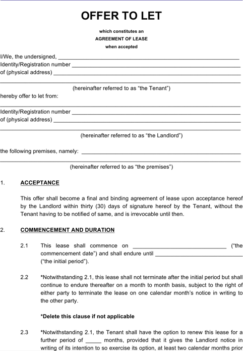 Sample Apartment Rental Lease Agreement