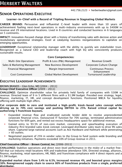 Sample Ceo Resume
