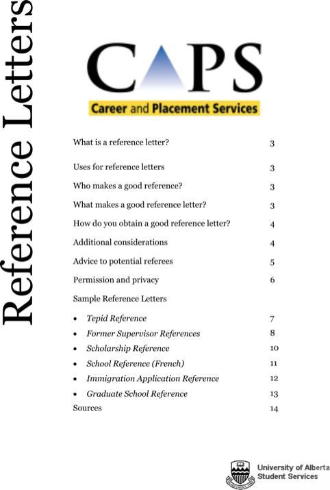 Sample College References Letter