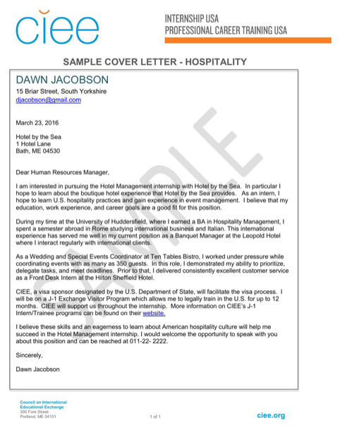 Sample Cover Letter Hospitality