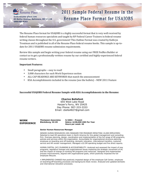 Sample Federal Resume in the Resume Place Format for USAJOBS
