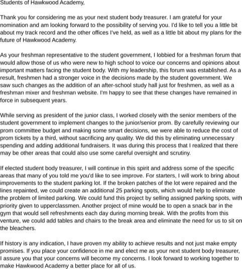 Sample High School Treasurer Speech