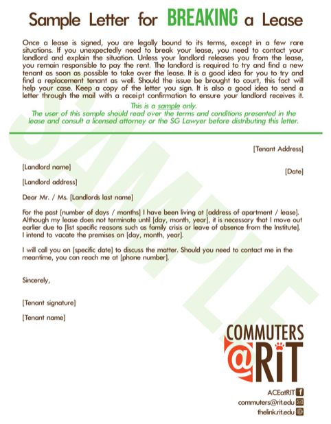 Sample Letter for Breaking a Lease