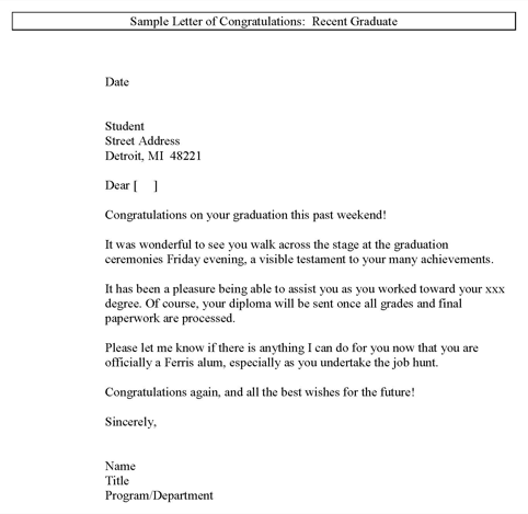 Sample Letter of Congratulations on Recent Graduate