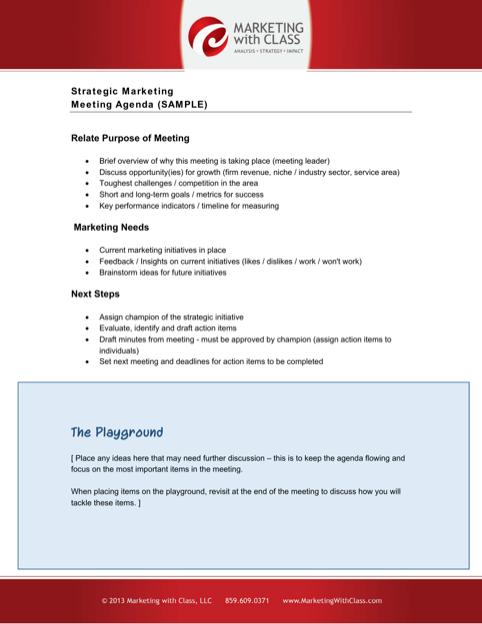 Sample Marketing Strategy Meeting Agenda