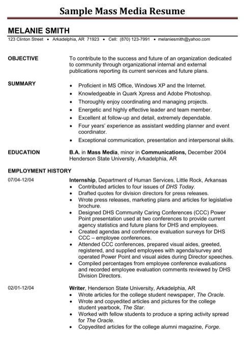 Sample Mass Media Resume