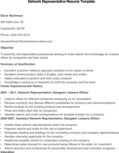 Sample Network Representative Resume Template
