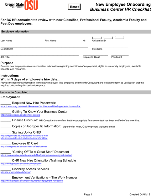 Sample New Employee Onboarding Business Center Hr Checklist