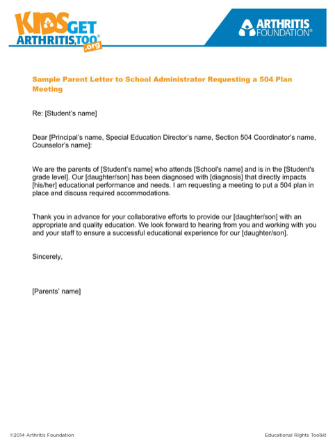 Sample Parent Letter to School Administrator