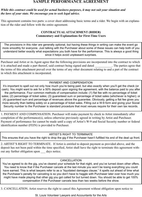 Sample Performance Agreement
