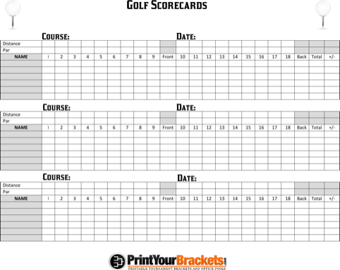 Sample Printable Golf Scorecard