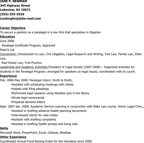Sample Resume For New Paralegal