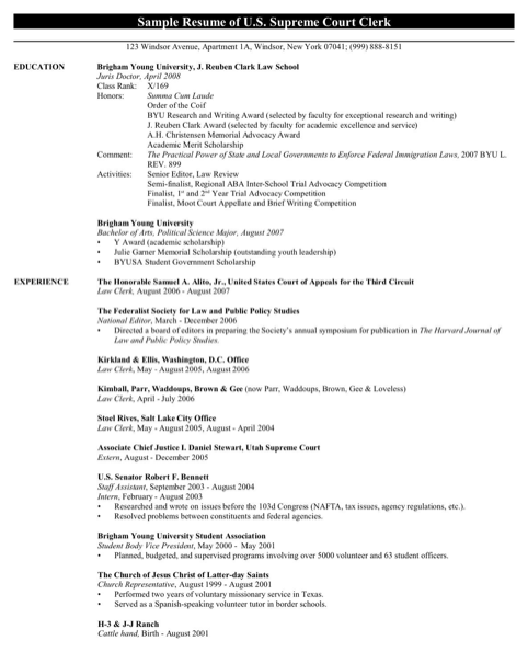 Sample Resume of U.S. Supreme Court Clerk