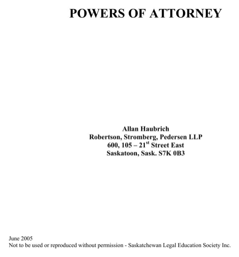 Saskatchewan Enduring Power of Attorney (Appointing a Personal and Property Attorney) Form