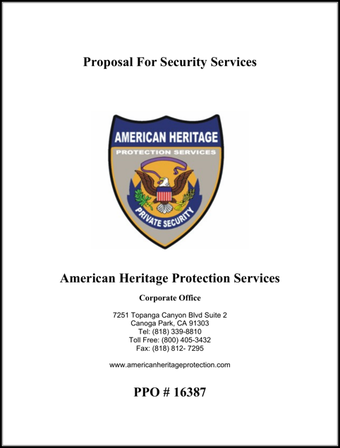 Security Service Proposal Template