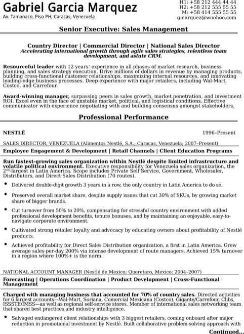 Senior Executive Resume Sample