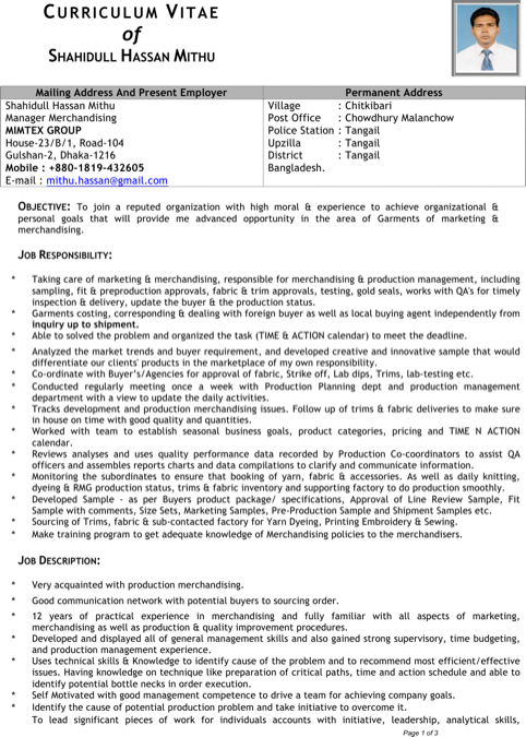 Senior Merchandiser Resume