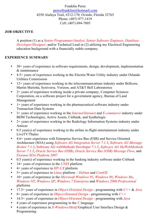 Senior Programmer / Analyst Resume Template