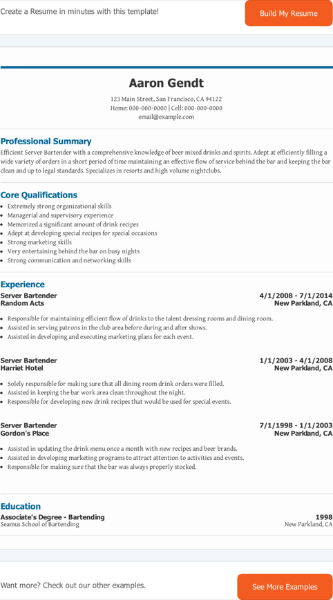 download bartender resume templates for free