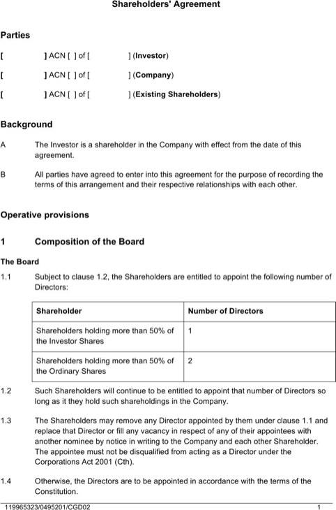 Shareholders' Agreement Sample