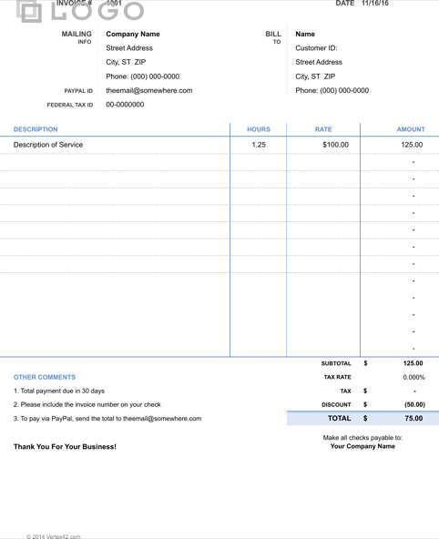 Simple Invoice Hours And Rate