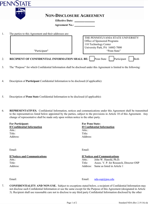 Simple Non Disclosure Agreement Form Free Download