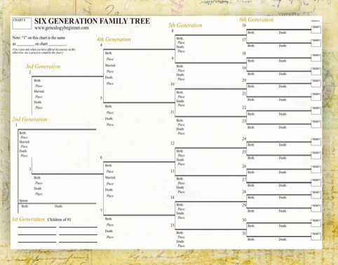 Six Generation Family Tree Template
