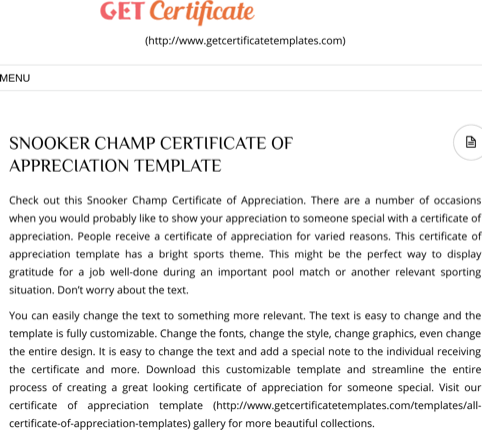Snooker Champ Certificate Of Appreciation Template