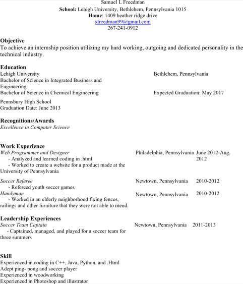 Soccer Referee Resume