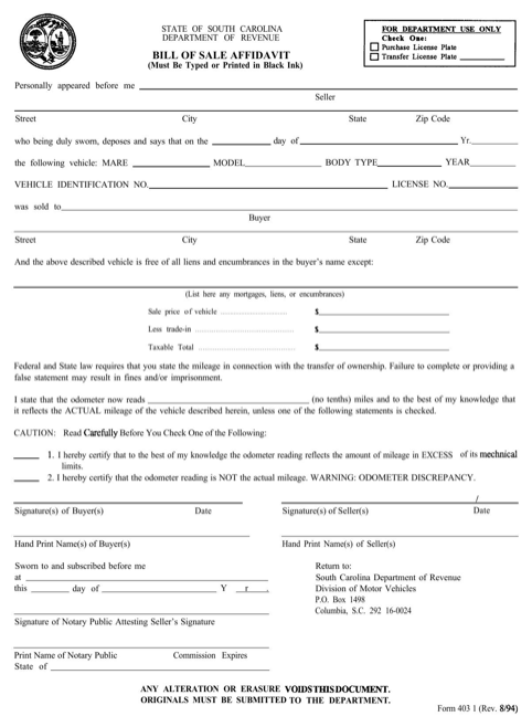 South Carolina Bill of Sale Affidavit