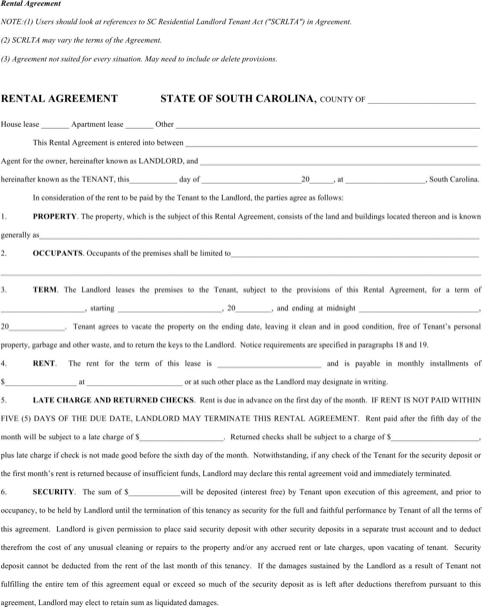 South Carolina Rental Agreement Template